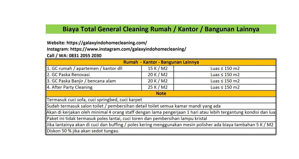 Biaya total general cleaning di cikarang