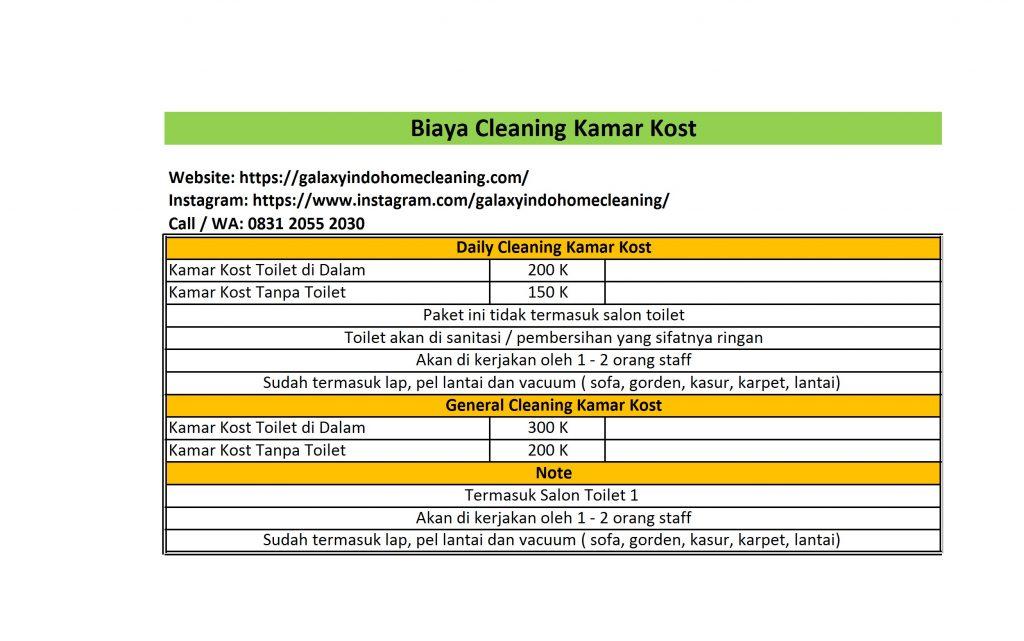 biaya cleaning kamar kost bekasi