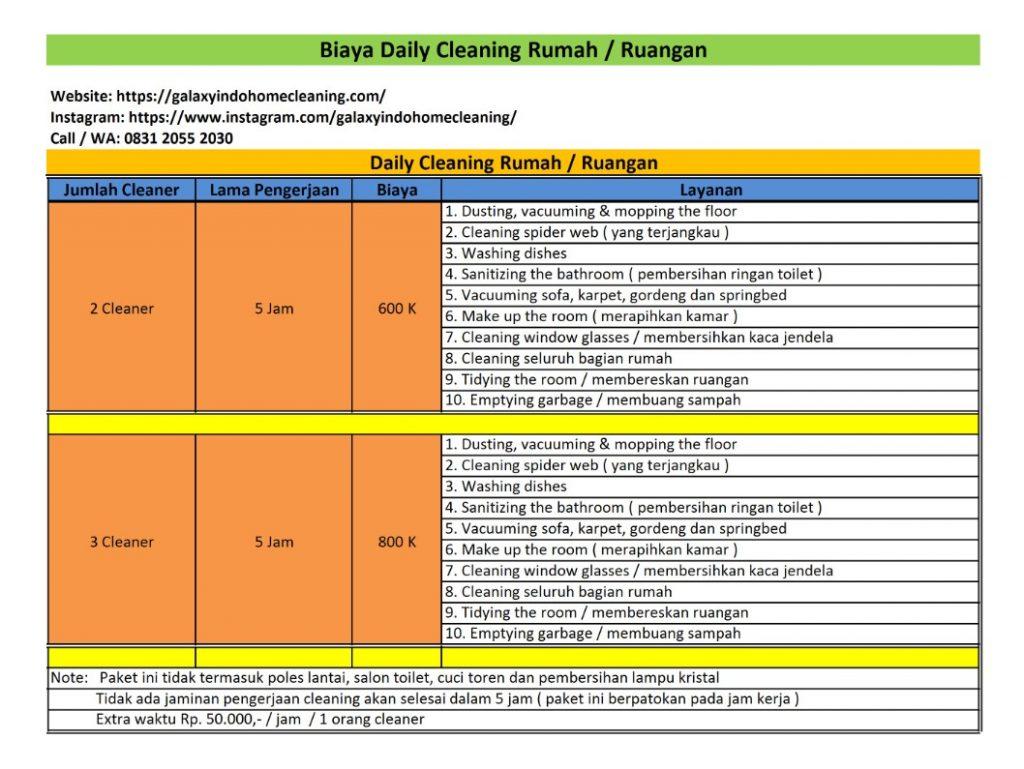 biaya daily cleaning rumah di bekasi